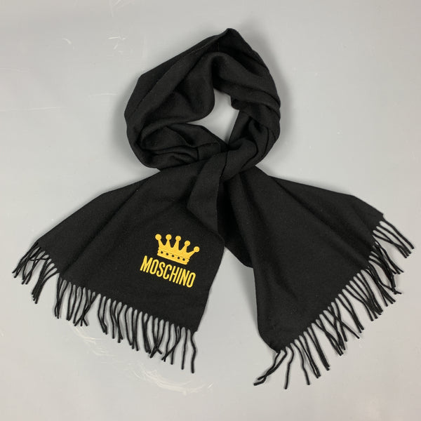 MOSCHINO Black Wool Yellow EMbroidered Crown Logo Fringe Scarf