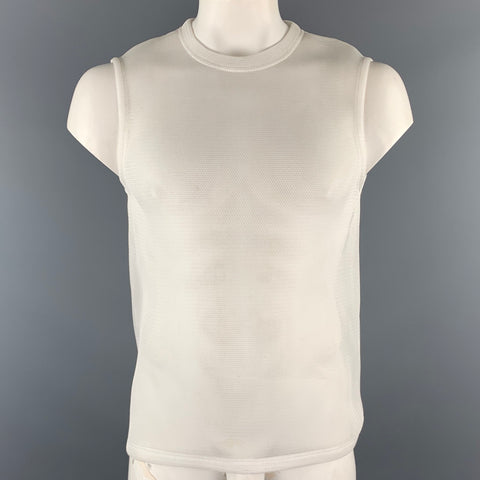 CALVIN KLEIN COLLECTION Size M White Mesh Polyester Crew-Neck Sleeveless T-Shirt