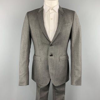 BURBERRY PRORSUM 40 Grey Herringbone Wool 32 x 32 Notch Lapel  Suit