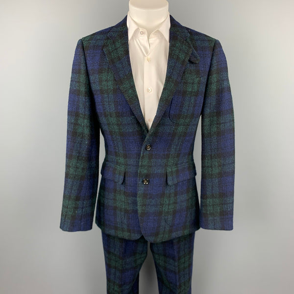 J CREW Size 38 Regular Blackwatch Plaid Harris Tweed Wool Notch Lapel Suit