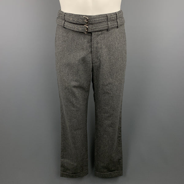 MICHAEL BASTIAN Size 32 Heather Grey Wool Double Belt Cuffed Pants