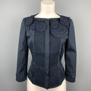 PRADA Size 8 Navy Eyelet Cotton Collarless Jacket
