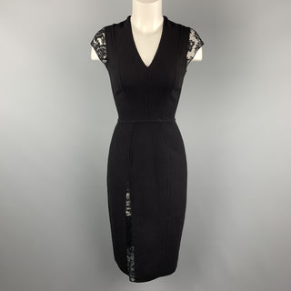 REEM ACRA Size 4 Black Wool Lace Panel Sheath Dress