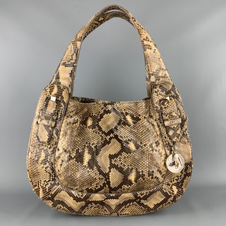 CHRISTIAN LOUBOUTIN Beige Snake Skin Hobo Buckle Shoulder Handbag