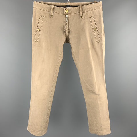 DSQUARED2 Size 32 Khaki Cotton Low Rise Zip Fly Pants