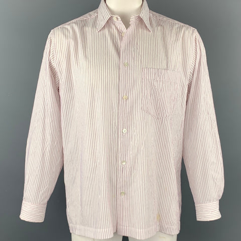ISSEY MIYAKE Size L Beige & Red Stripe Wrinkled Polyester / Cotton Long Sleeve Shirt