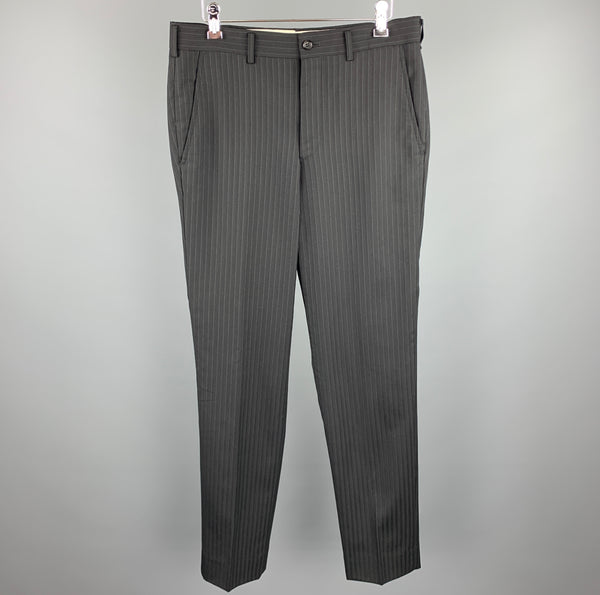 COMME des GARCONS HOMME PLUS Size S Stripe Wool Blend Zip Fly Dress Pants