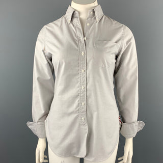 BLACK FLEECE Size L Light Gray Cotton Button Down Shirt