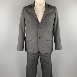 STEVEN ALAN Size 44 Charcoal Wool Notch Lapel Suit