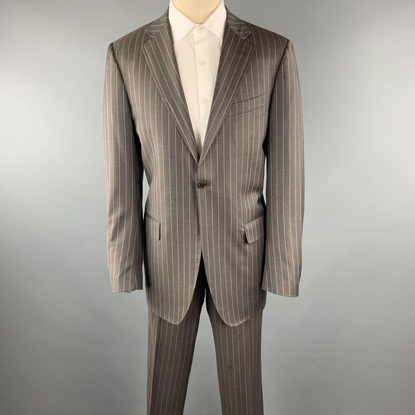 CANALI Size 40 Long Stripe Taupe Wool Notch Lapel Suit