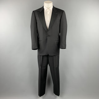 ERMENEGILDO ZEGNA 38 Short Black Wool Peak Lapel Tuxedo