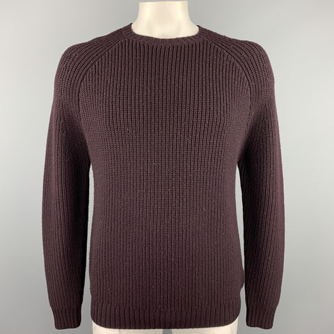 STEVEN ALAN Size L Eggplant Purple Knitted Merino Wool Crew-Neck Sweater