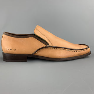 TED BAKER Size 9 Tan Stitched Leather Loafers