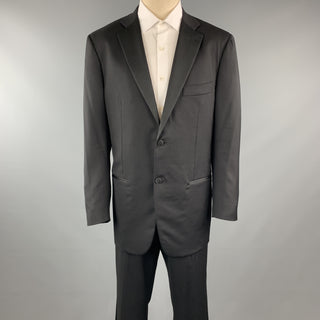 ISAIA 44 Black Solid Lana Wool 38 x 34 Notch Lapel Tuxedo