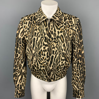 DRIES VAN NOTEN S/S 20 Size 34 Tan & Black Leopard Print Wool Jacket