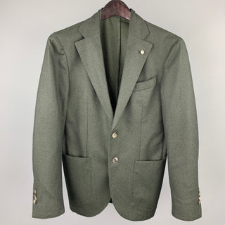 BRANDO Size 36 Charcoal Wool Notch Lapel Sport Coat