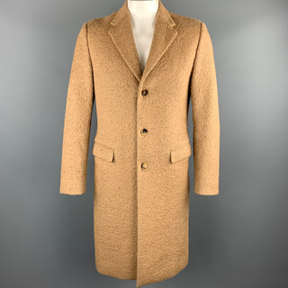 CALVIN KLEIN COLLECTION Size 38 Tan Textured Wool Blend Coat