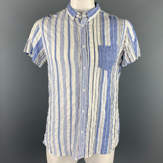 08SIRCUS Size L White & Blue Stripe Cotton Button Up Long Sleeve Shirt