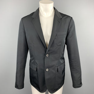 LANVIN Size 38 Black Polyester / Wool Notch Lapel Sport Coat