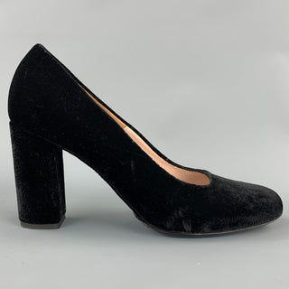 DRIES VAN NOTEN Size 8.5 Black Velvet Chunky Heel Pumps