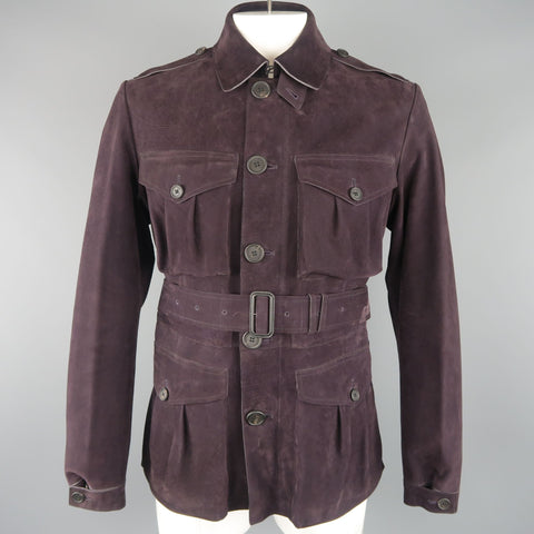 BURBERRY PRORSUM Spring 2015 42 Eggplant Purple Suede Patch Pockets Belted Jacket