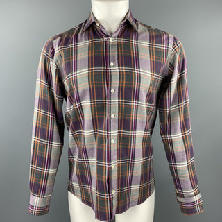 ETRO Size S Purple Plaid Cotton Button Up Long Sleeve Shirt