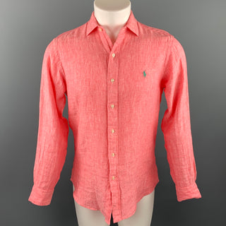 RALPH LAUREN Size S Salmon Heather Linen Button Up Long Sleeve Shirt