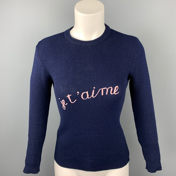VINTAGE Size M Navy Knitted Embriodered Acrylic Pullover