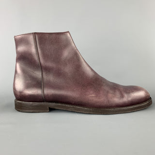 JIMMY CHOO Size 9.5 Plum Purple Leather Side Zipper Ankle Boots