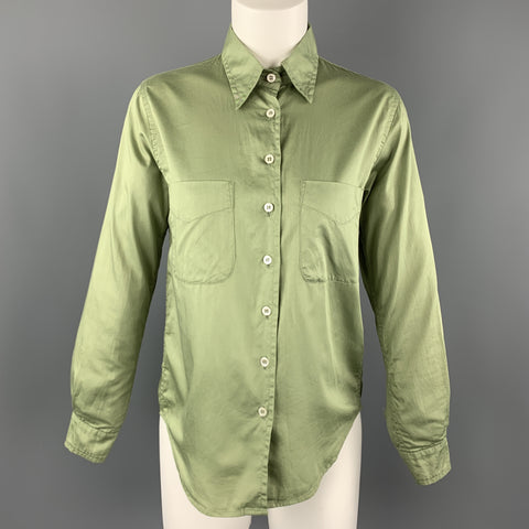 PAUL HARNDEN Size S Green Cotton Patch Pocket Blouse