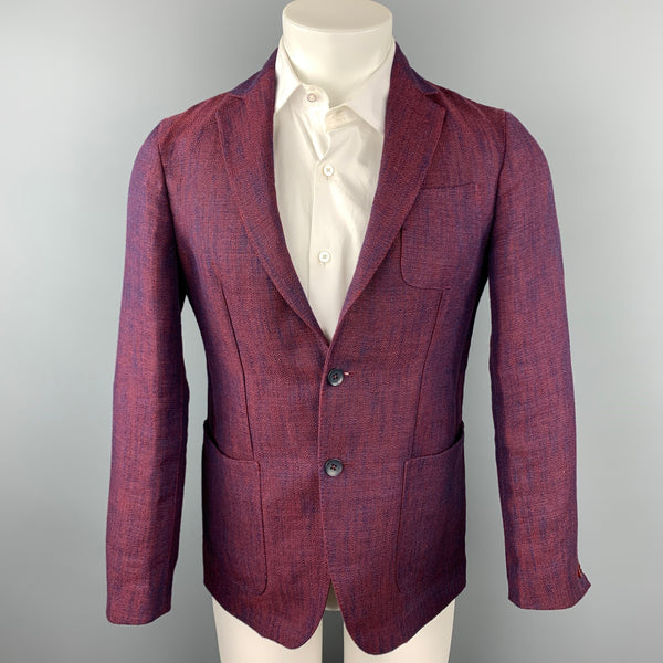 ERNESTO Size 36 Burgundy Woven Linen / Viscose Notch Lapel Sport Coat
