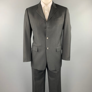 PRADA Size 40 Charcoal Stripe Virgin Wool Notch Lapel Suit