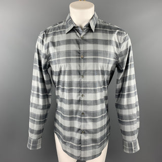 JOHN VARVATOS * U.S.A. Size M Grey Plaid Cotton Button Up Long Sleeve Shirt