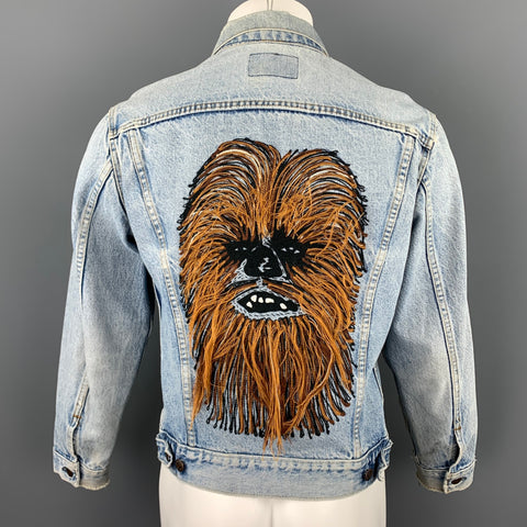 LEVI'S Star Wars Limited Edition Size 38 Blue Chewbacca Embroidery Denim Trucker Jacket