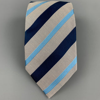 ERMENEGILDO ZEGNA Navy & White Diagonal Stripe Silk / Cotton Tie