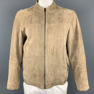ZEGNA SPORT Size L Khaki Leather Nehru Collar Jacket