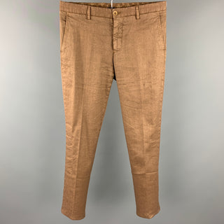 ETRO Size 30 Brown Linen Blend Zip Fly Casual Pants