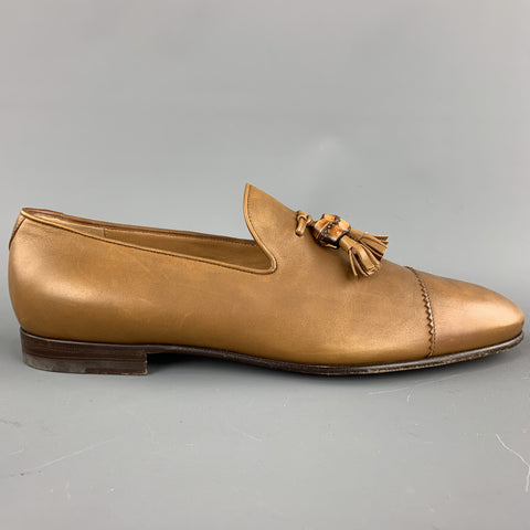GUCCI Size 11 Tan Solid Leather Tassel Slip On Loafers