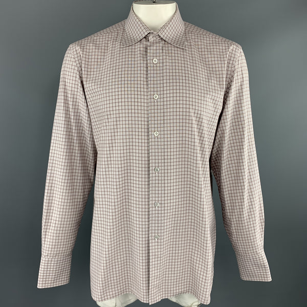 TOM FORD Size XL Brown & White Micro Plaid Cotton Button Up Long Sleeve Shirt