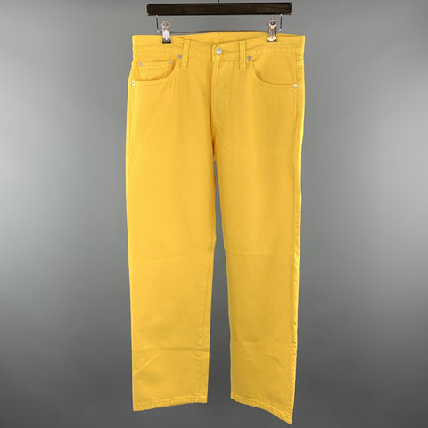 LEVI'S Size 34 Yellow Solid Cotton Button Fly Casual Pants