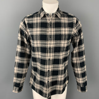 ALEX MILL Size M Black & Cream Plaid Cotton Button Up Long Sleeve Shirt
