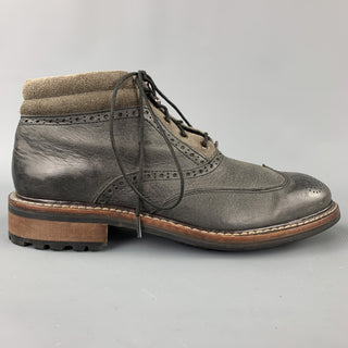 WOLVERINE Wyatt Size 7.5 Gray Wingtip Leather Boots