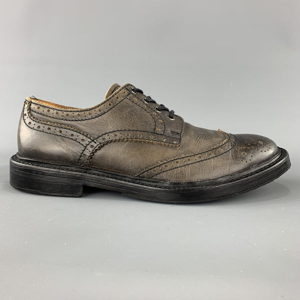 JUNYA WATANABE Size 10 Taupe Antique Leather Wingtip Lace Up Brogues