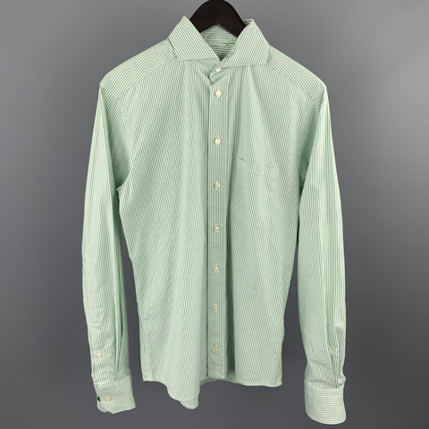ETON Size S Green Stripe Cotton Button Up Long Sleeve Shirt