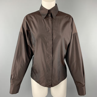 YVES SAINT LAURENT Size M Brown Taffeta Hidden Placket Blouse