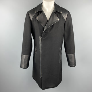 ROYGBM Size 40 Black Wool & Leather Asymmetrical Zip Biker Coat