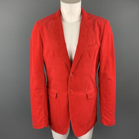 BURBERRY Size 40 Red Corduroy Notch Lapel Sport Coat