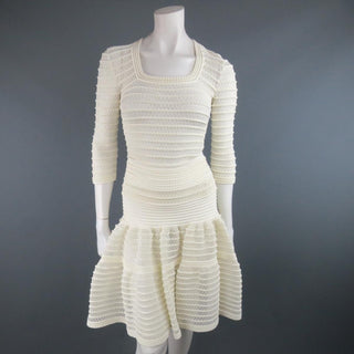 ALAIA Size M Cream Mesh Knit Scoop Neck Ruffle Skirt Set