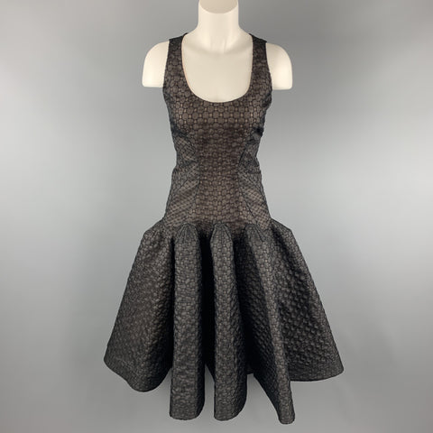 ZAC POSEN Size 6 Black Lace Ruffle Trumpet Skirt Cocktail Dress