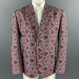 ROBERTO CAVALLI Size 48 Brick & Purple Print Cotton / Silk Sport Coat